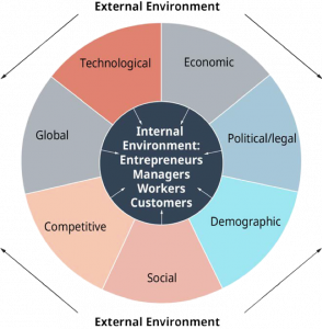 This figure displays the different factors influencing the external environment. The factors listed in the diagram are technological, economic, political/legal, demographic, social, competitive, and global.